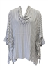 Moroccan White & Grey Striped Draped Neck Pocket Tunic