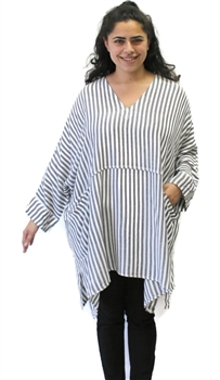 Moroccan White & Grey Striped Pocket Tunic