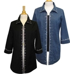 Bleu Bayou Black Twill Jacket with Clear Crystals