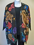 Chinese Dragon Two Piece Handpainted Silk Jacket / Duster Set
