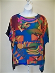 Kandinsky Inspired Silk Tunic   Hand Painted  Art to Wear