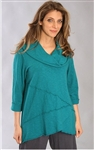 Fenini Cowl Neck Top Teal