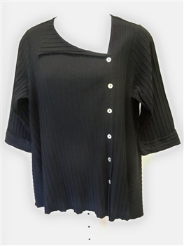 Fenini Ribbed Shirt with Asymmetrical Placket