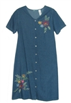 La Cera Denim  Embroidered Floral Dress