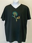 Liz and Jane Black Flower V Neck Tee Shirt