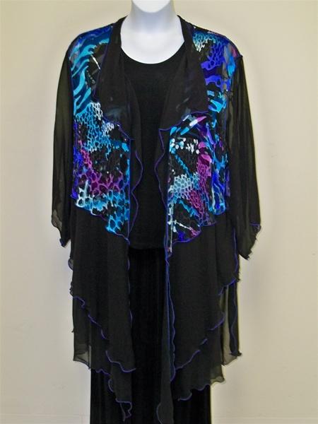 Burnout Silk Duster Jacket Plus Size Jewel Toned