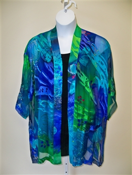 Tropical Silk Kimono Jacket Plus Size