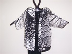 Silk  Kimono Jacket  Black & White  Plus Size