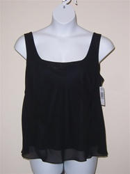 Alex Evenings Black Chiffon Tank Top