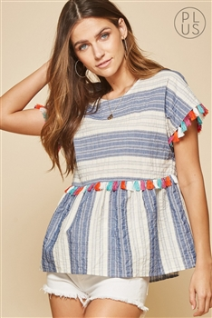 Andree by Unit  Stripe & Tassel Top