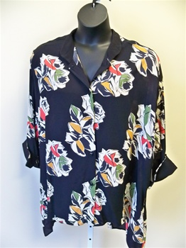 Carole Tomkins Abstract Rose Big Shirt