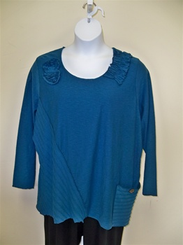 Fenini Floral Patch Top Teal