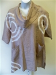 Match Point Mocha Pinch Dye Linen Cowl Neck Tunic
