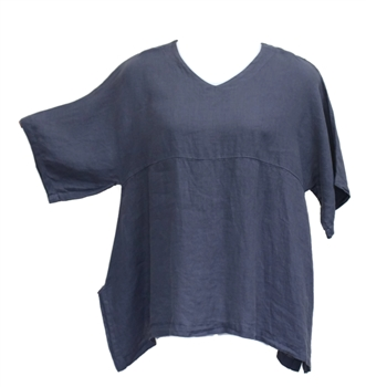 Match Point Charcoal Linen Kimono Tunic