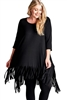 Oddi Boho Chic Jersey Knit Fringe Tunic Top