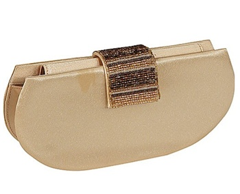 Beaded Satin Gold Clutch