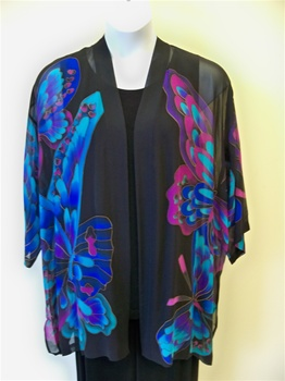 Black Butterfly  Silk  Kimono Jacket   Plus Size