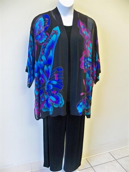 Black Butterfly Silk Kimono Jacket Plus Size