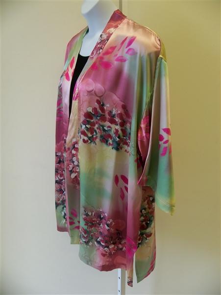 Satin Rose Silk Kimono Jacket Plus Size