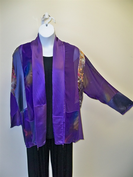 Patchwork Silk Jacket Plus Size