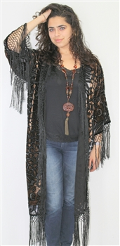 Burnout Silk Fringe Animal Print  Duster / Jacket