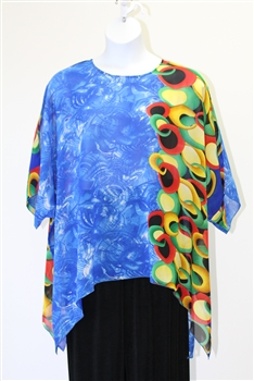 Sterling Styles Blue Circle  Art Wear Tunic