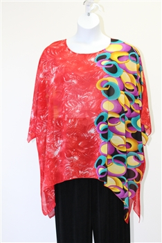 Sterling Styles Chili Red Circle  Art Wear Tunic