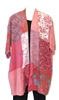 Cascading Patchwork Coral Kimono Duster Jacket